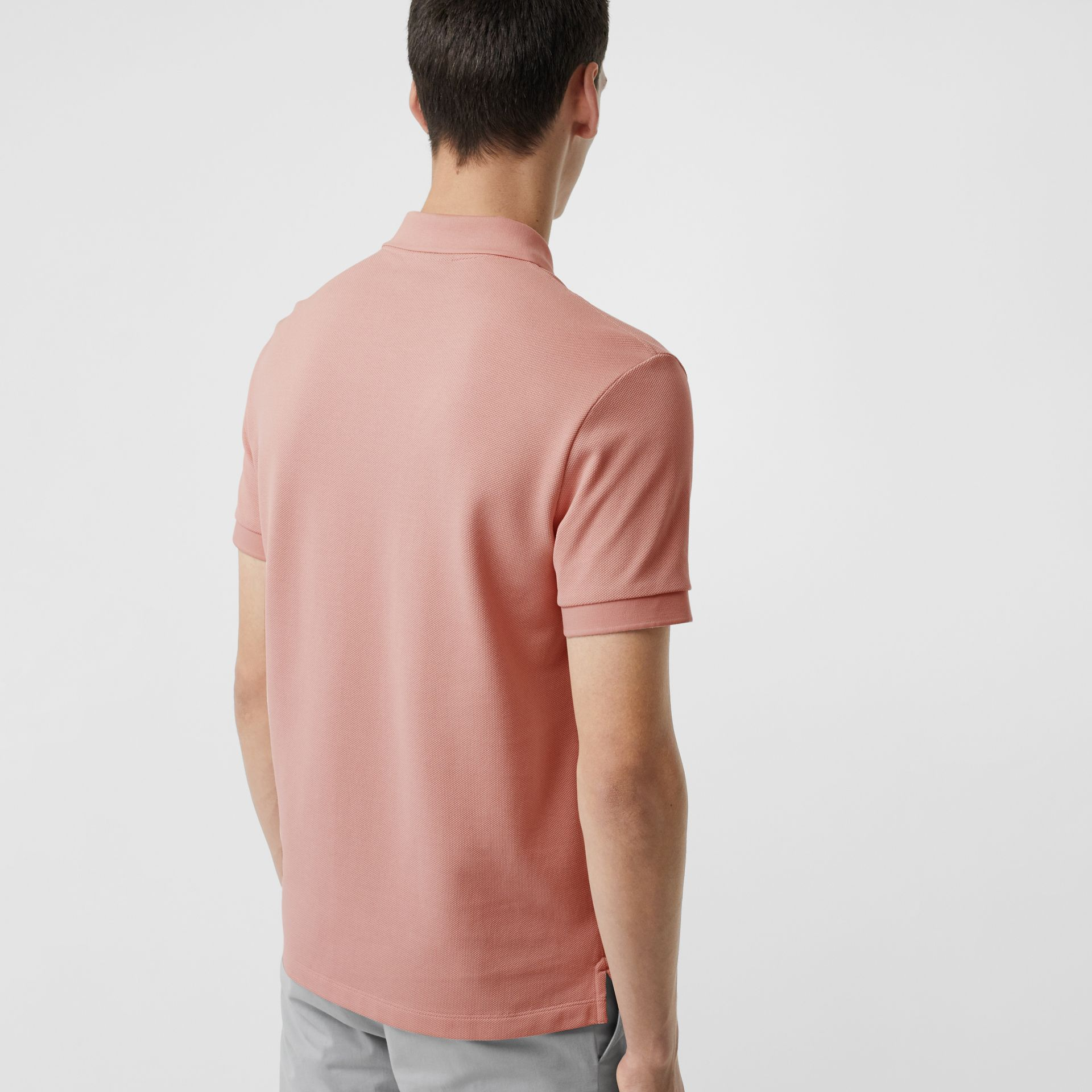 Check Placket Cotton Polo Shirt in Chalk Pink - Men | Burberry Singapore - gallery image 2