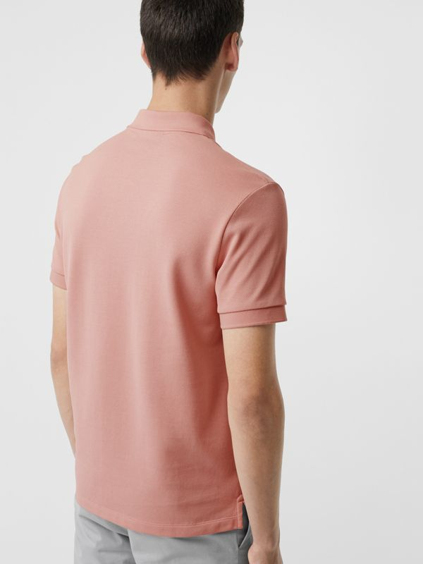 Check Placket Cotton Polo Shirt in Chalk Pink - Men | Burberry Singapore - cell image 2
