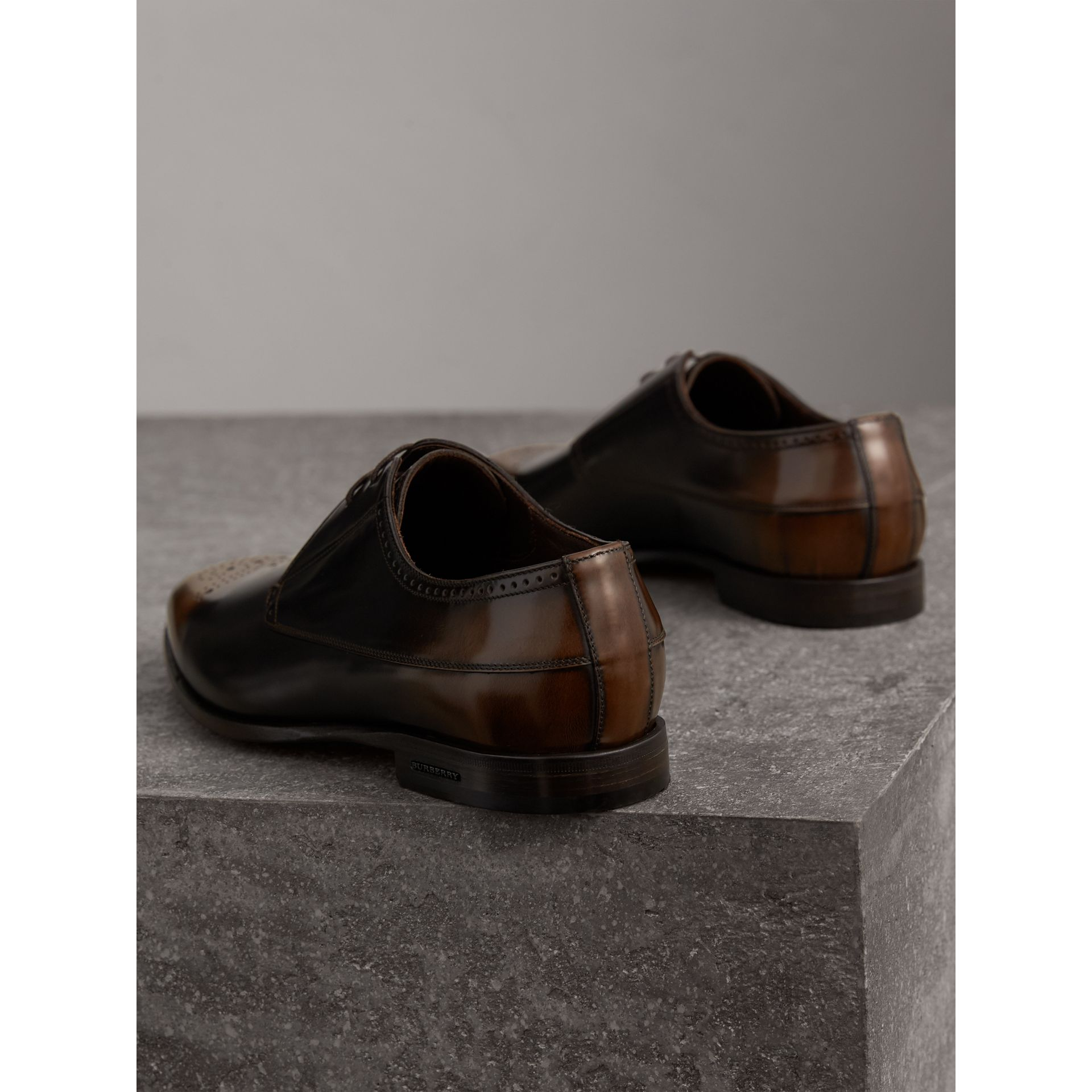 Ombré Perforated Detail Leather Derby Shoes in Chocolate Brown - Men | Burberry United Kingdom - gallery image 3