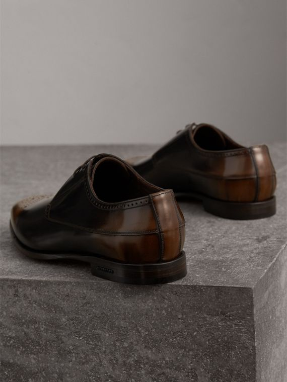 Ombré Perforated Detail Leather Derby Shoes in Chocolate Brown - Men | Burberry - cell image 2