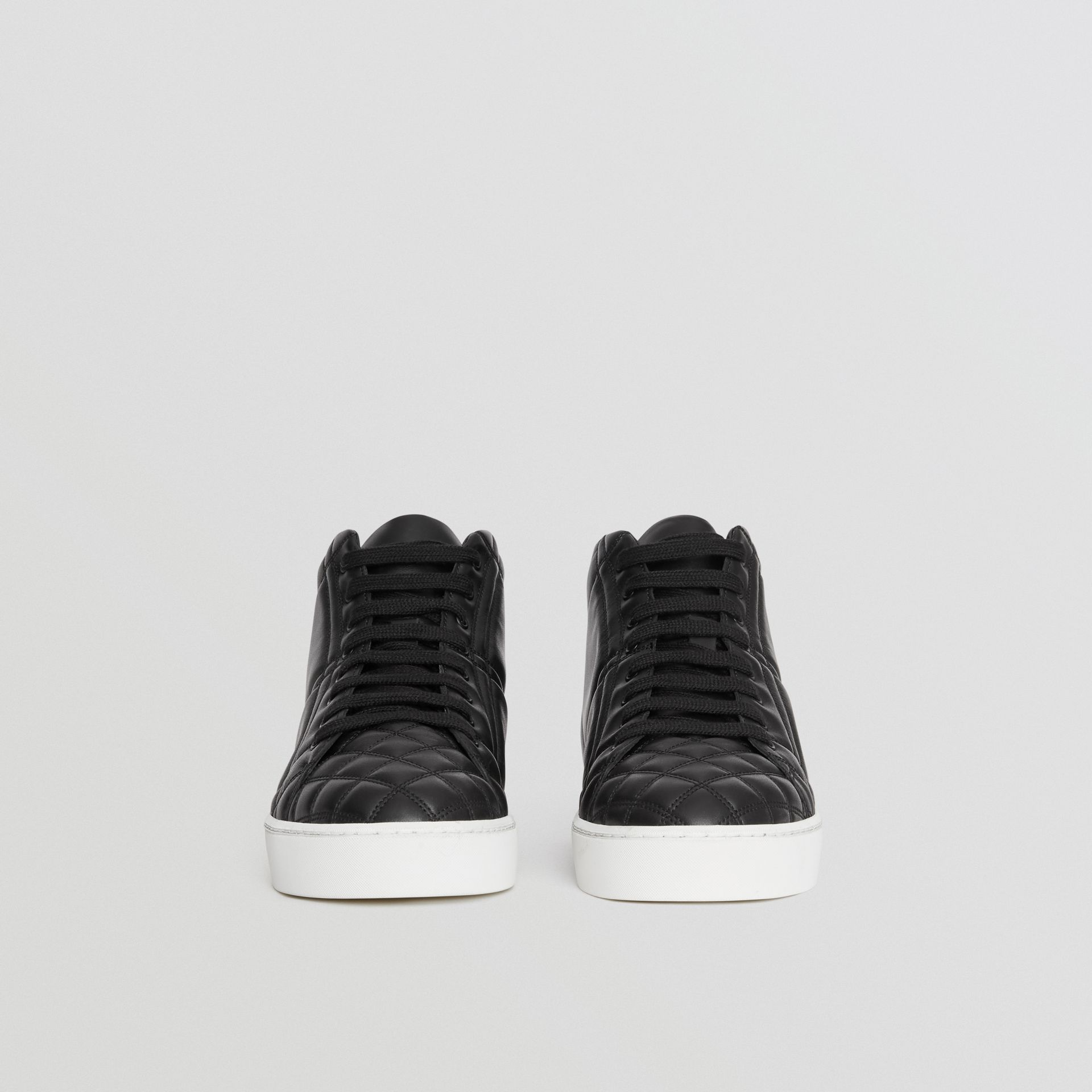 Check-quilted Leather High-top Sneakers in Black - Women | Burberry - gallery image 3