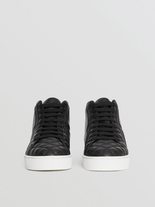 Check-quilted Leather High-top Sneakers in Black - Women | Burberry United Kingdom - cell image 3