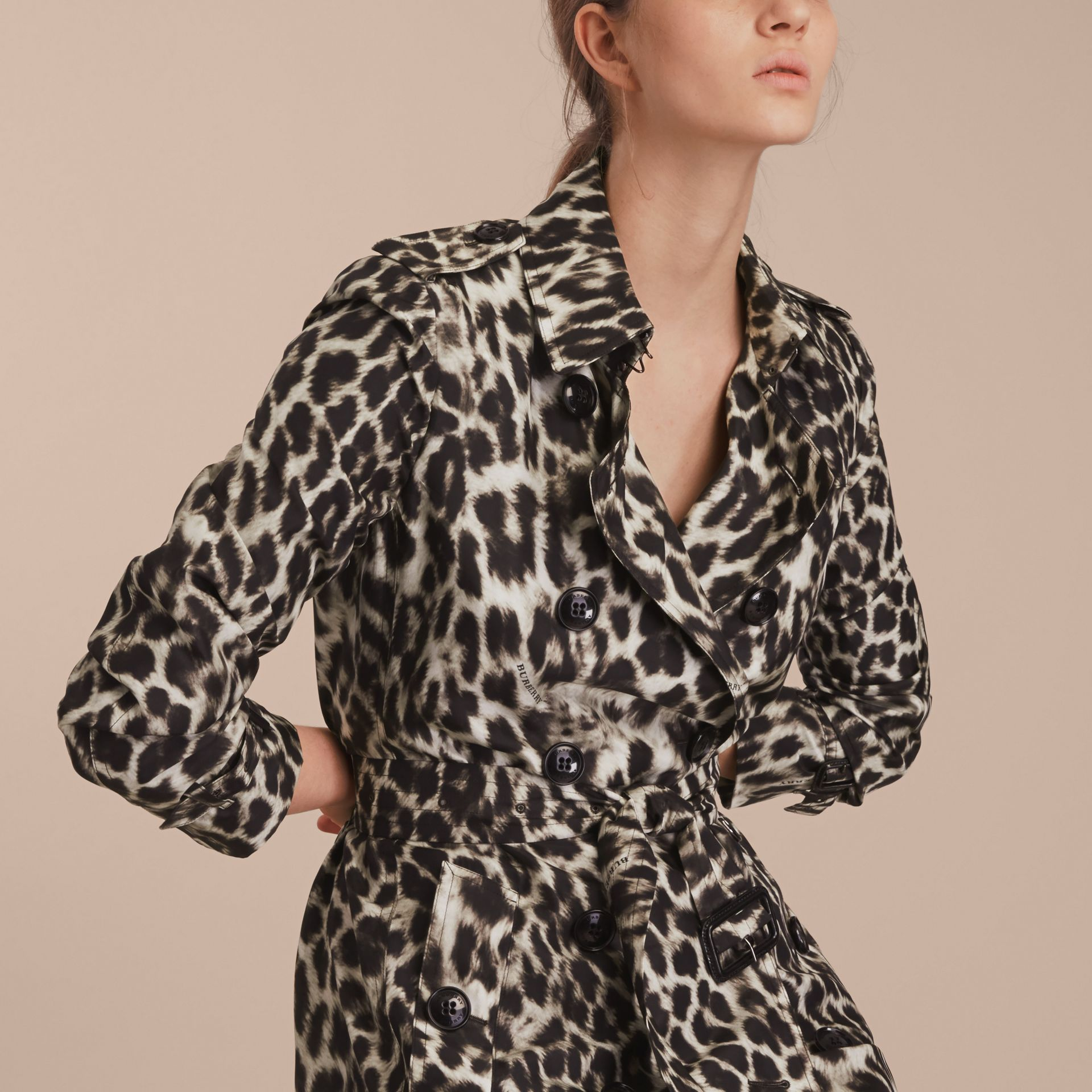 Animal Print Silk Trench Coat - gallery image 5