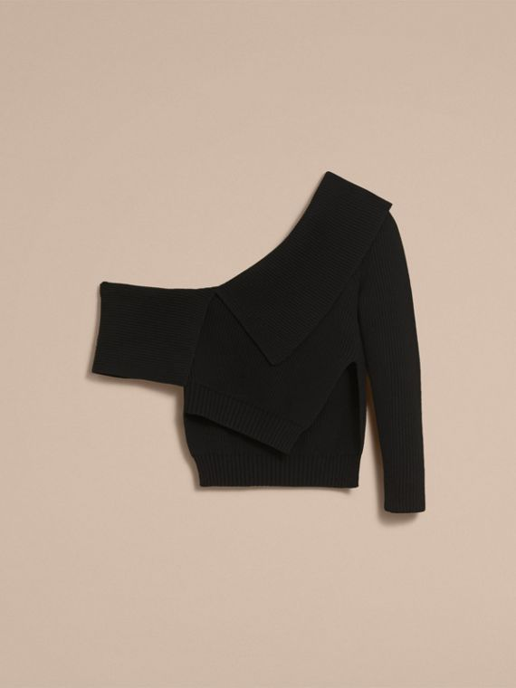 One-shoulder Rib Knit Wool Cashmere Sweater in Black - Women | Burberry Singapore - cell image 3