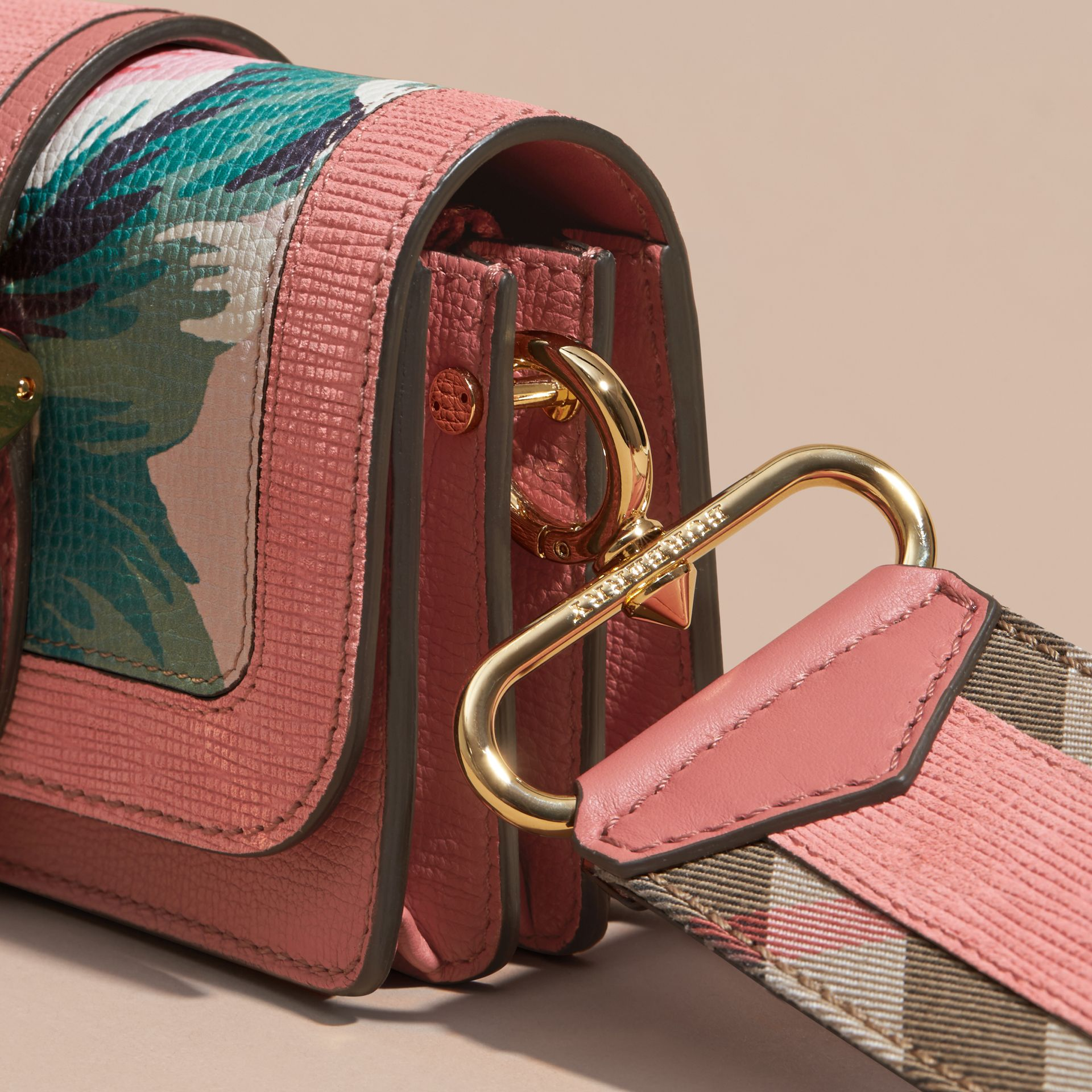 The Small Buckle Bag in Peony Rose Print Leather in Copper Pink /emerald - gallery image 2