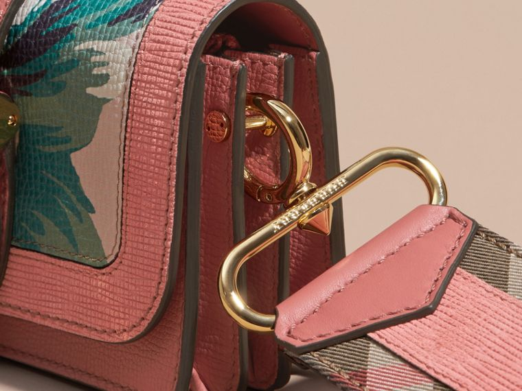 Copper pink /emerald The Small Buckle Bag in Peony Rose Print Leather Copper Pink /emerald - cell image 1
