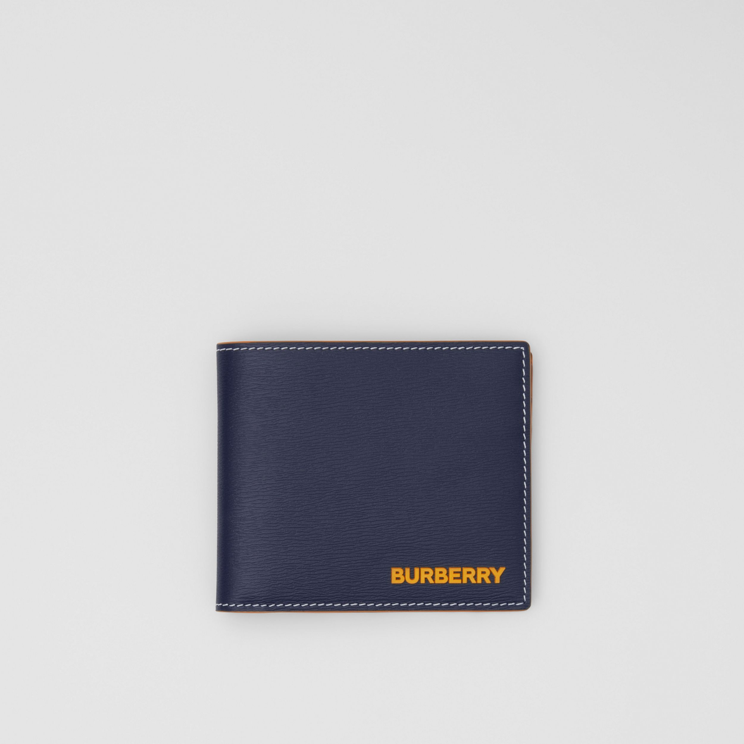 Topstitched Grainy Leather International Bifold Wallet in Navy - Men | Burberry - 1
