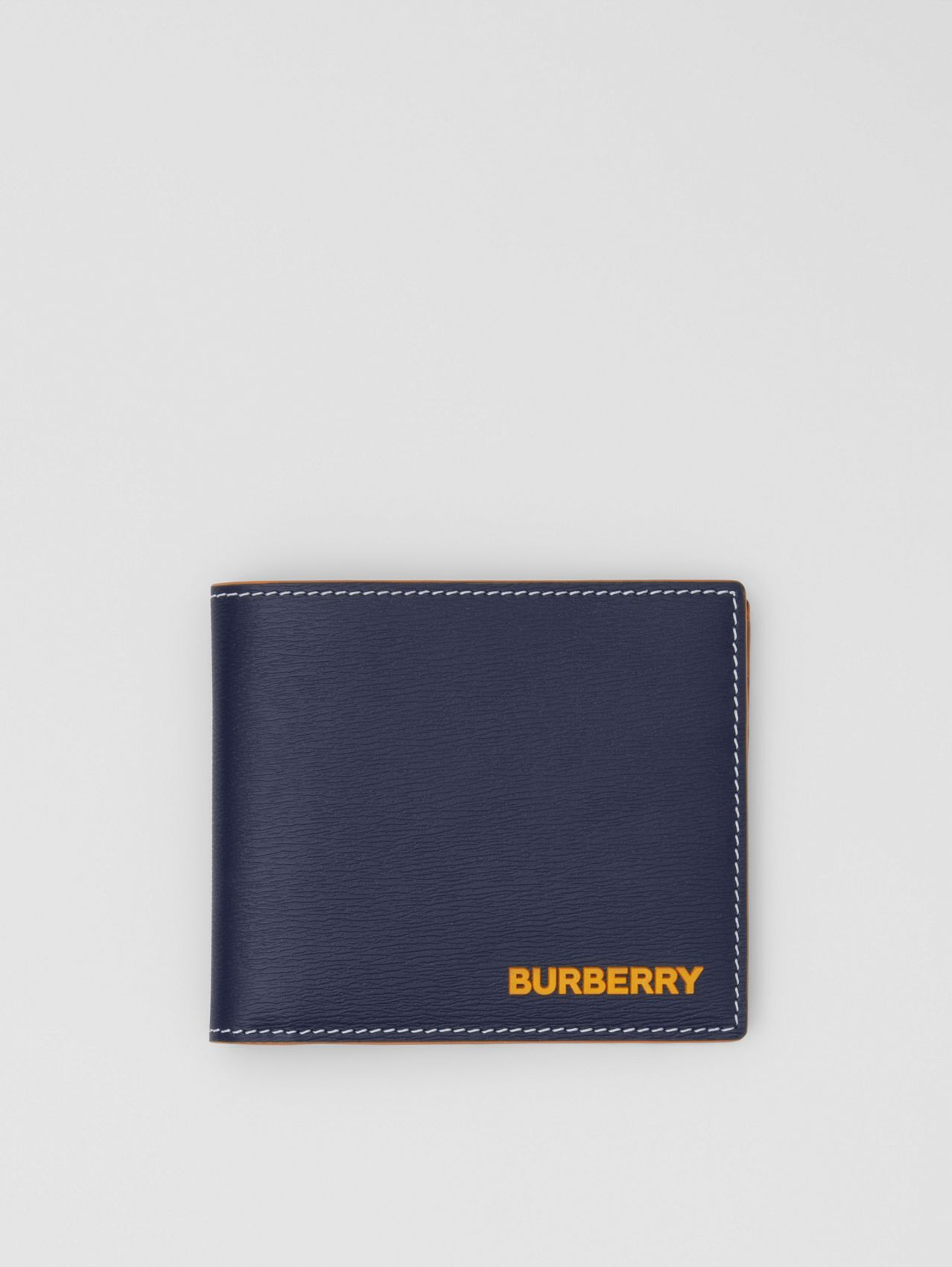 Topstitched Grainy Leather International Bifold Wallet in Navy