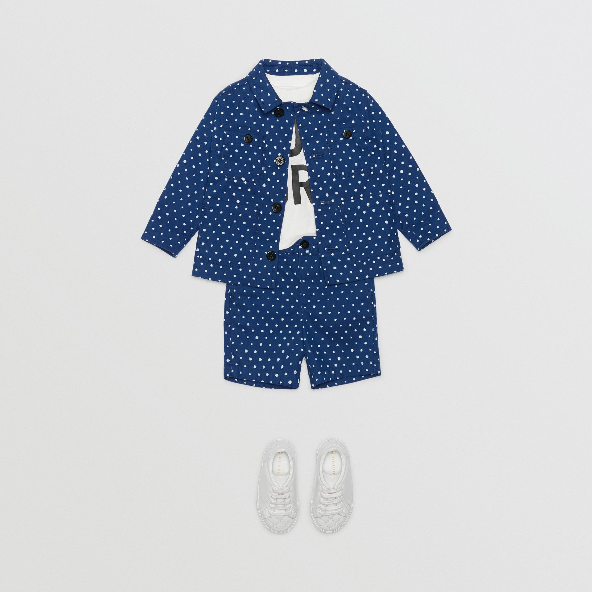 Spot Print Cotton Blend Jacket in Bright Navy - Children | Burberry - gallery image 2