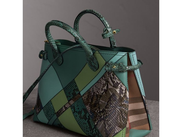 The Medium Banner in Patchwork Leather and Python in Celadon Blue - Women | Burberry - cell image 4