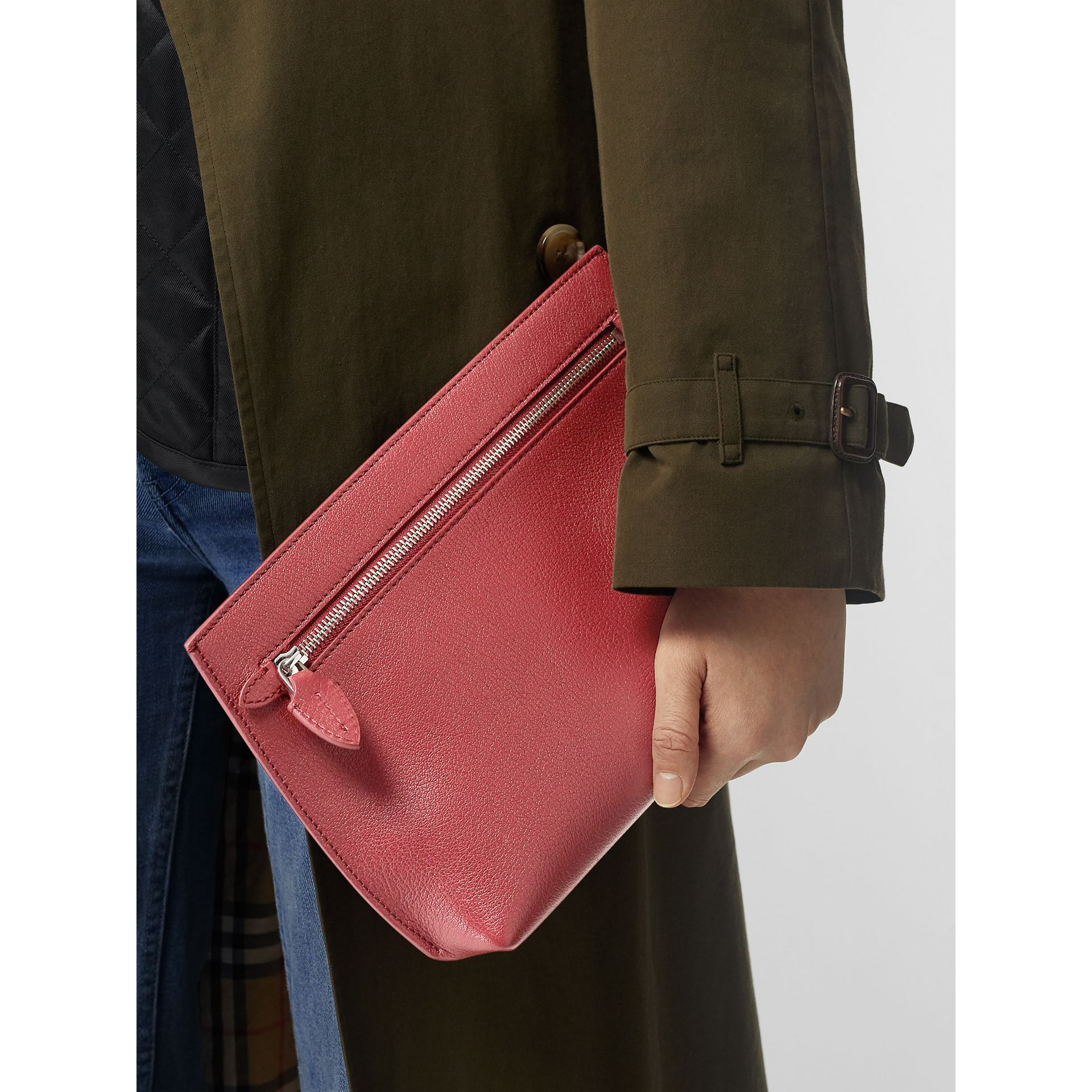 Grainy Leather Wristlet Clutch in Crimson - Women | Burberry United States - gallery image 3