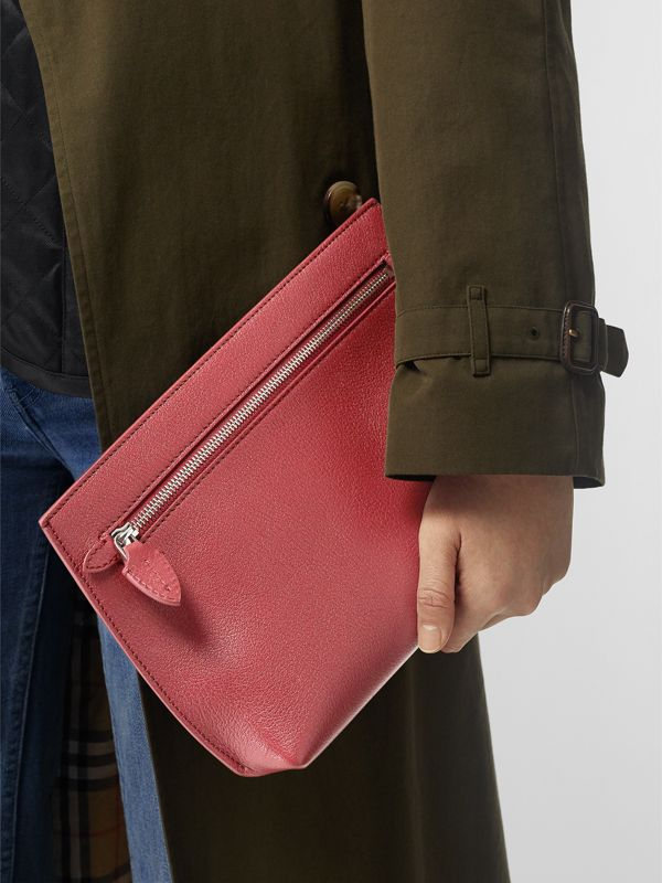 Grainy Leather Wristlet Clutch in Crimson - Women | Burberry United States - cell image 3