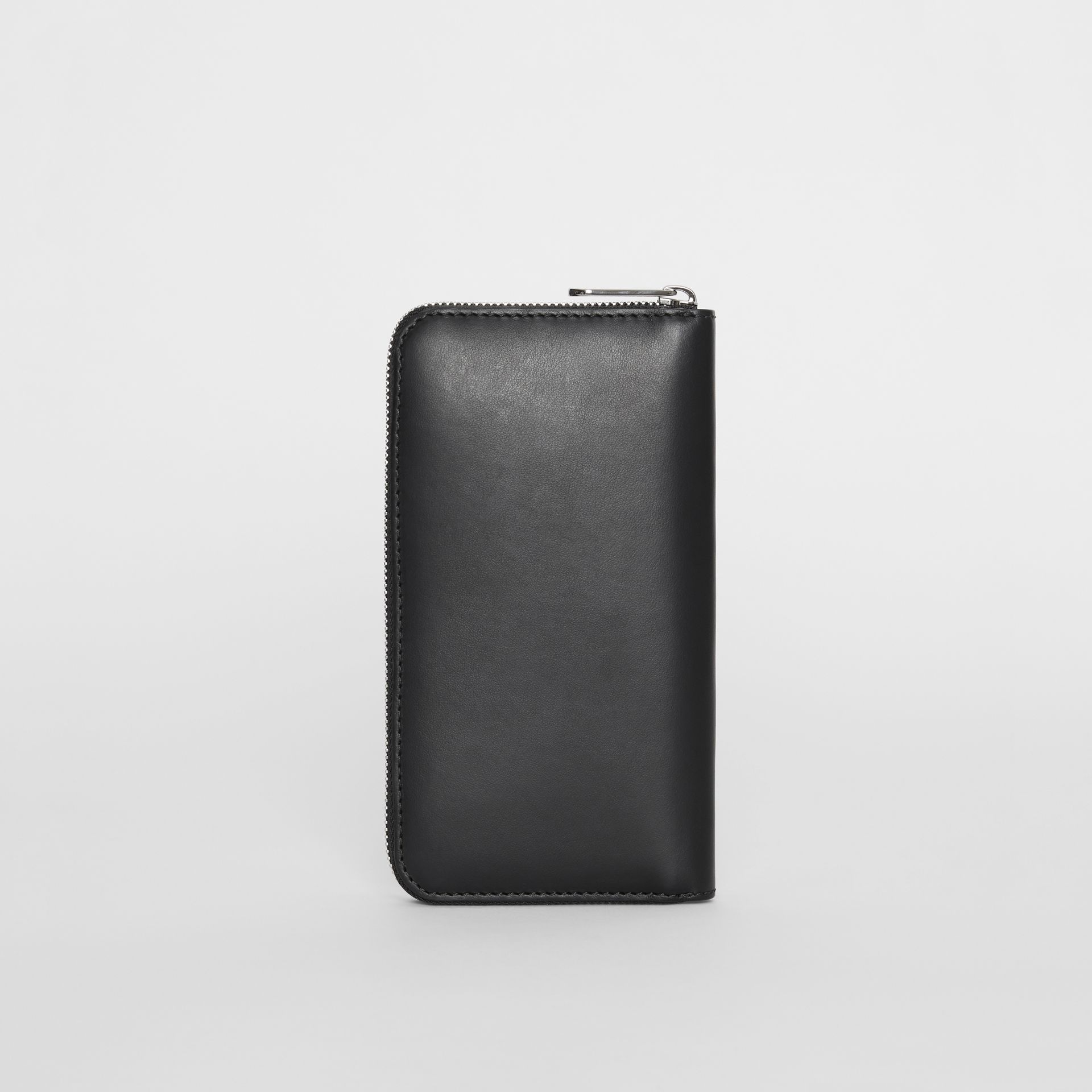 Logo Print Leather Ziparound Wallet in Black - Men | Burberry United Kingdom - gallery image 4