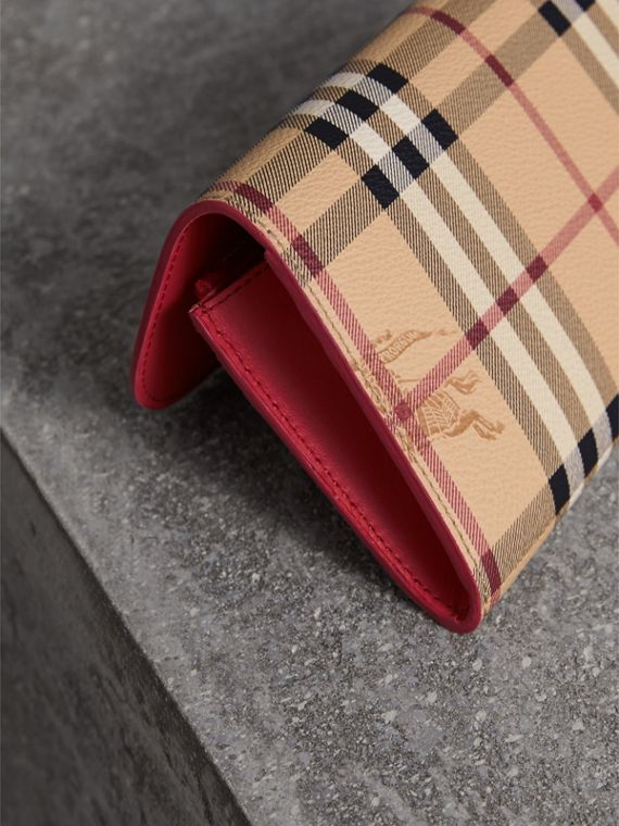 Haymarket Check and Leather Slim Continental Wallet in Coral Red - Women | Burberry Australia - cell image 2