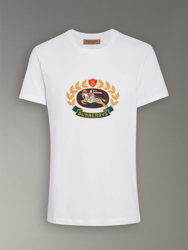 Embroidered Archive Logo Cotton T-shirt in White - Men | Burberry - cell image 3
