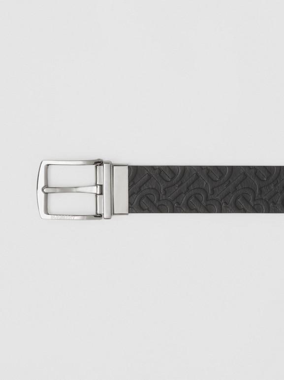 Reversible Monogram Leather Belt in Black - Men | Burberry - cell image 1