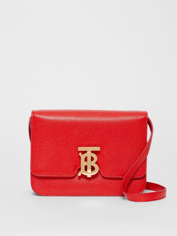 Small Grainy Leather TB Bag in Bright Red