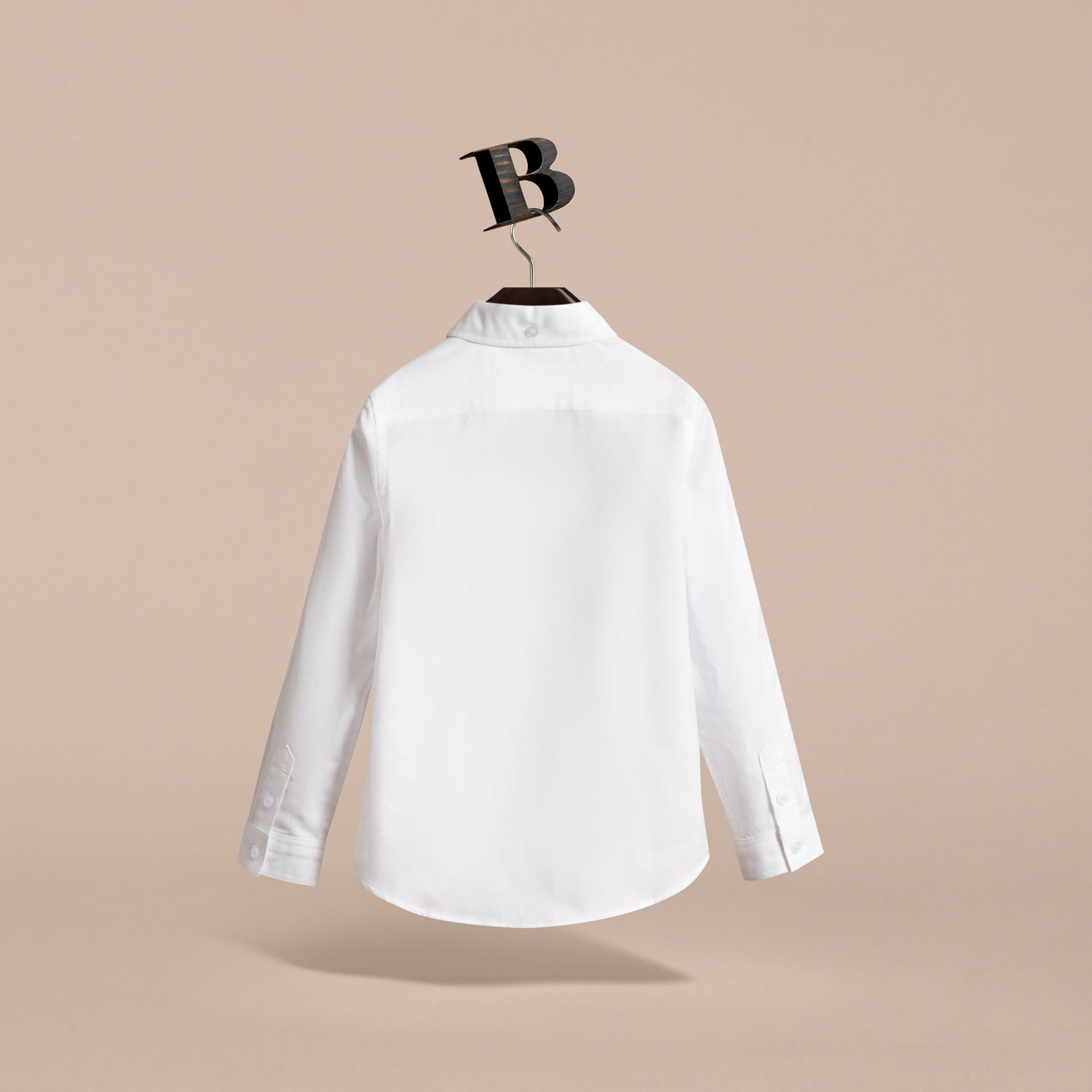 London Icons Cotton Button-down Collar Shirt in White - Boy | Burberry - gallery image 4