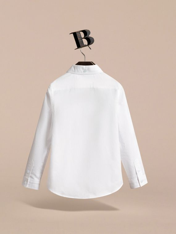 London Icons Cotton Button-down Collar Shirt in White - Boy | Burberry - cell image 3