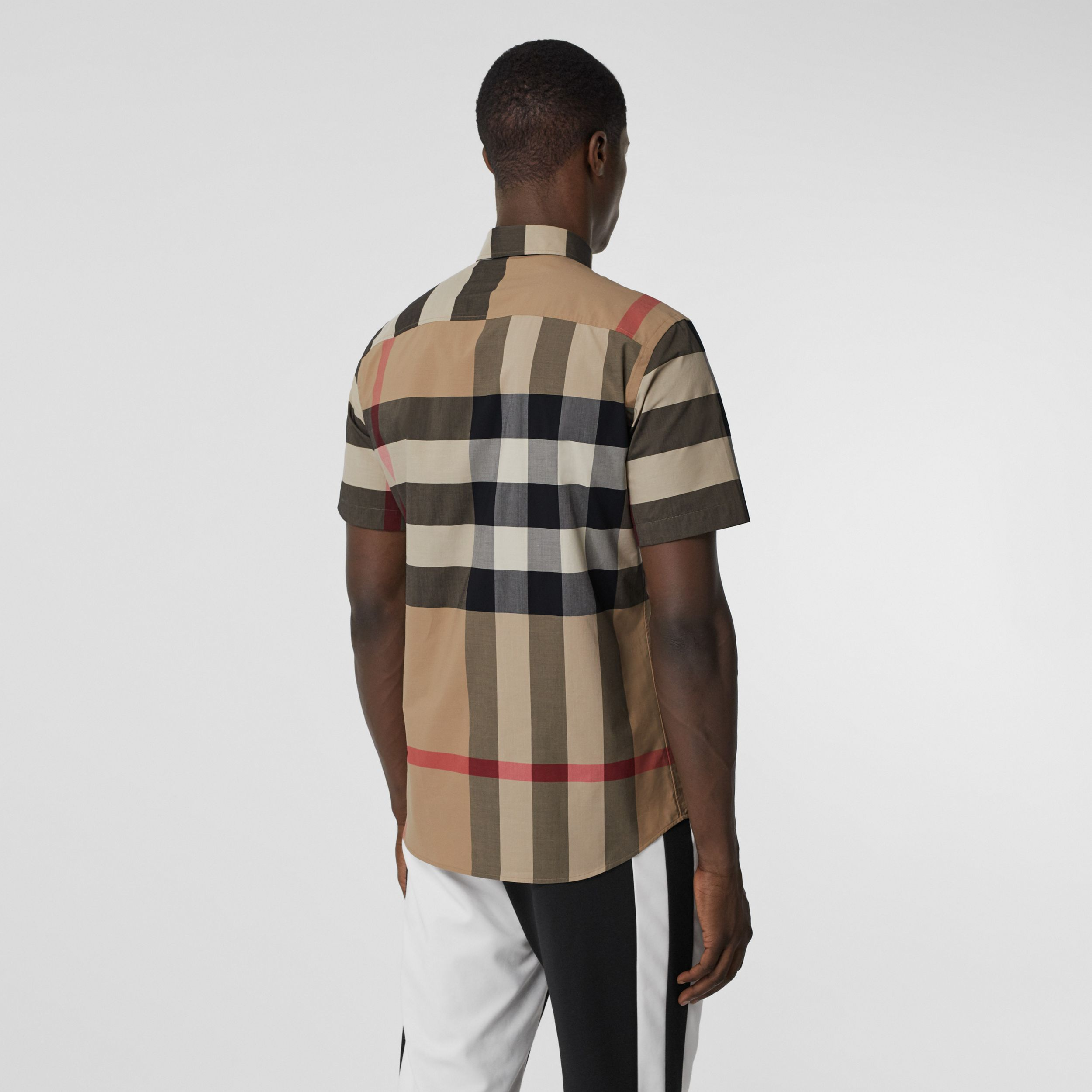 Short-sleeve Check Stretch Cotton Poplin Shirt in Archive Beige - Men | Burberry - 3