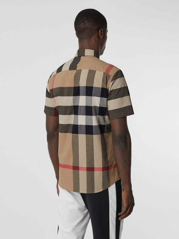 Short-sleeve Check Stretch Cotton Poplin Shirt in Archive Beige - Men | Burberry - cell image 2