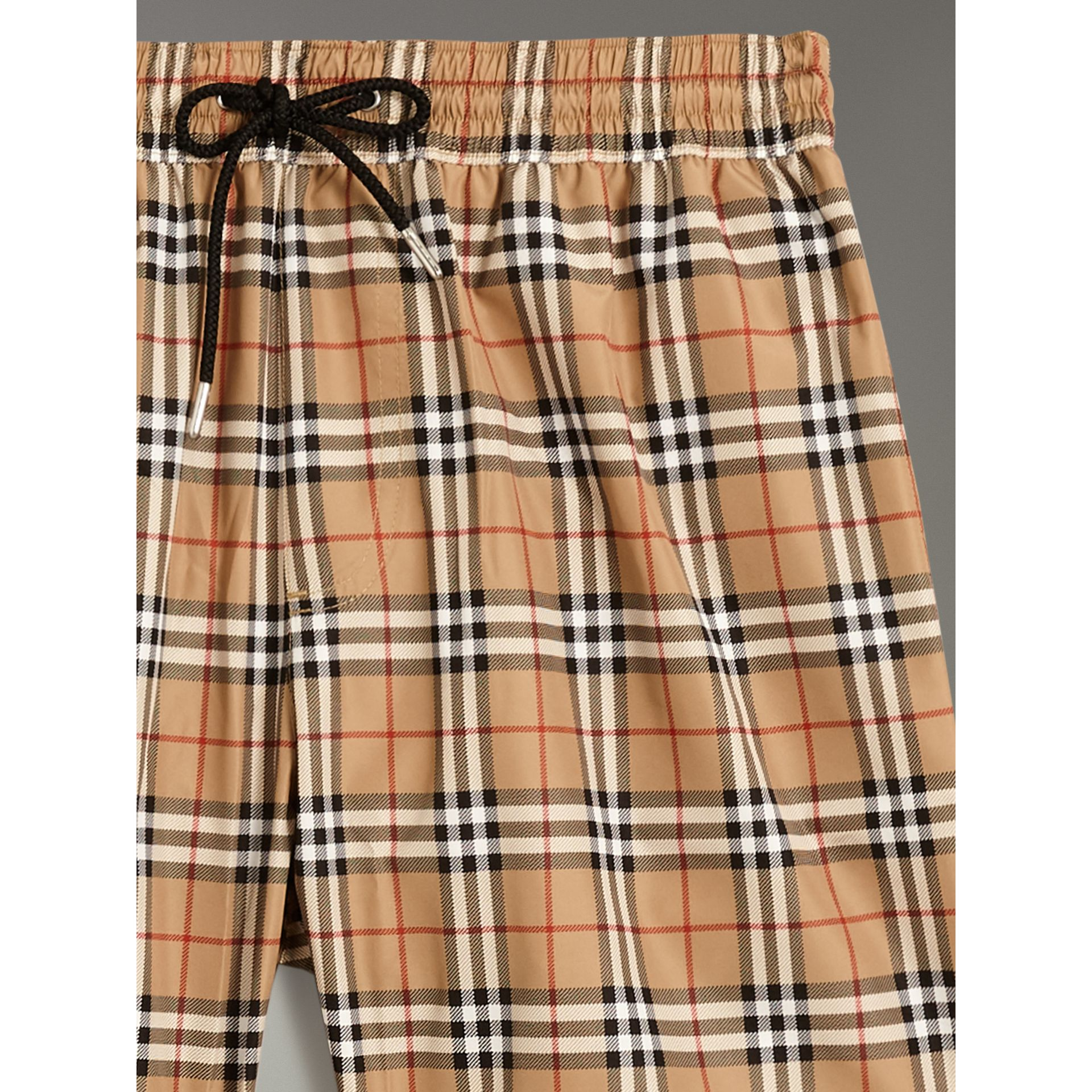 Vintage Check Drawcord Swim Shorts in Camel - Men | Burberry - gallery image 1