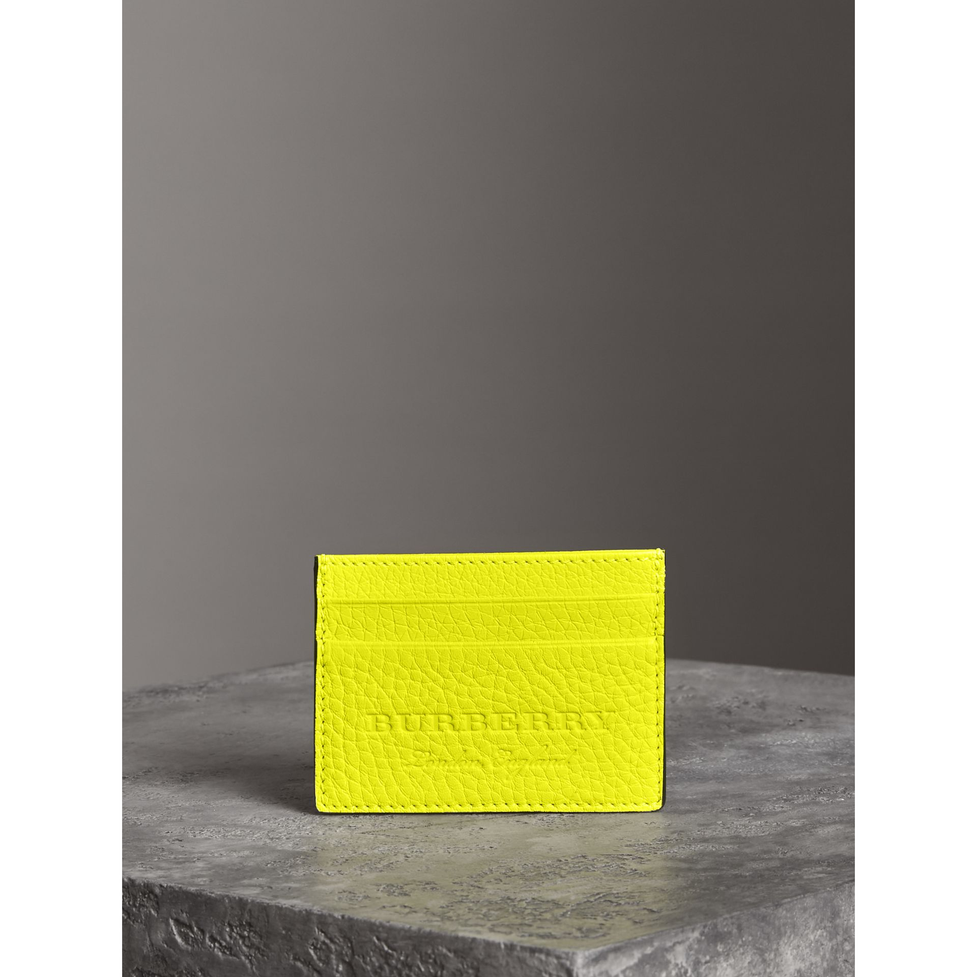 Embossed Textured Leather Card Case in Neon Yellow | Burberry - gallery image 3