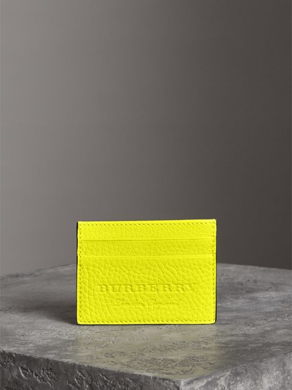 Embossed Textured Leather Card Case in Neon Yellow | Burberry Canada - cell image 3