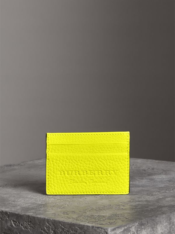 Embossed Textured Leather Card Case in Neon Yellow | Burberry - cell image 3