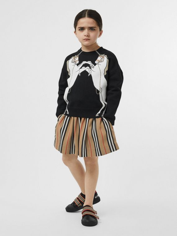 Unicorn Print Cotton Jersey Sweatshirt in Black