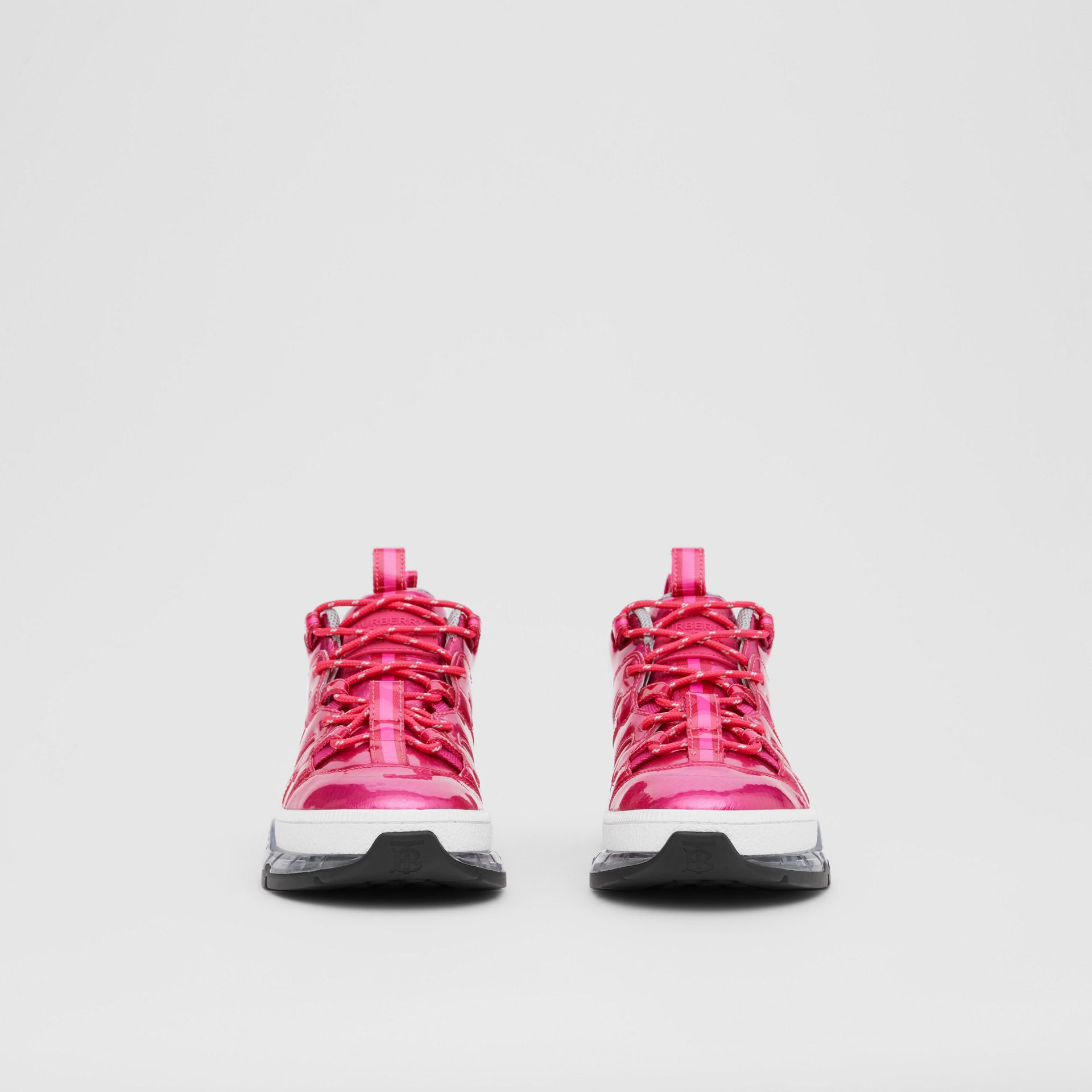 Vinyl and Nylon Union Sneakers in Fuchsia - Women | Burberry - gallery image 2