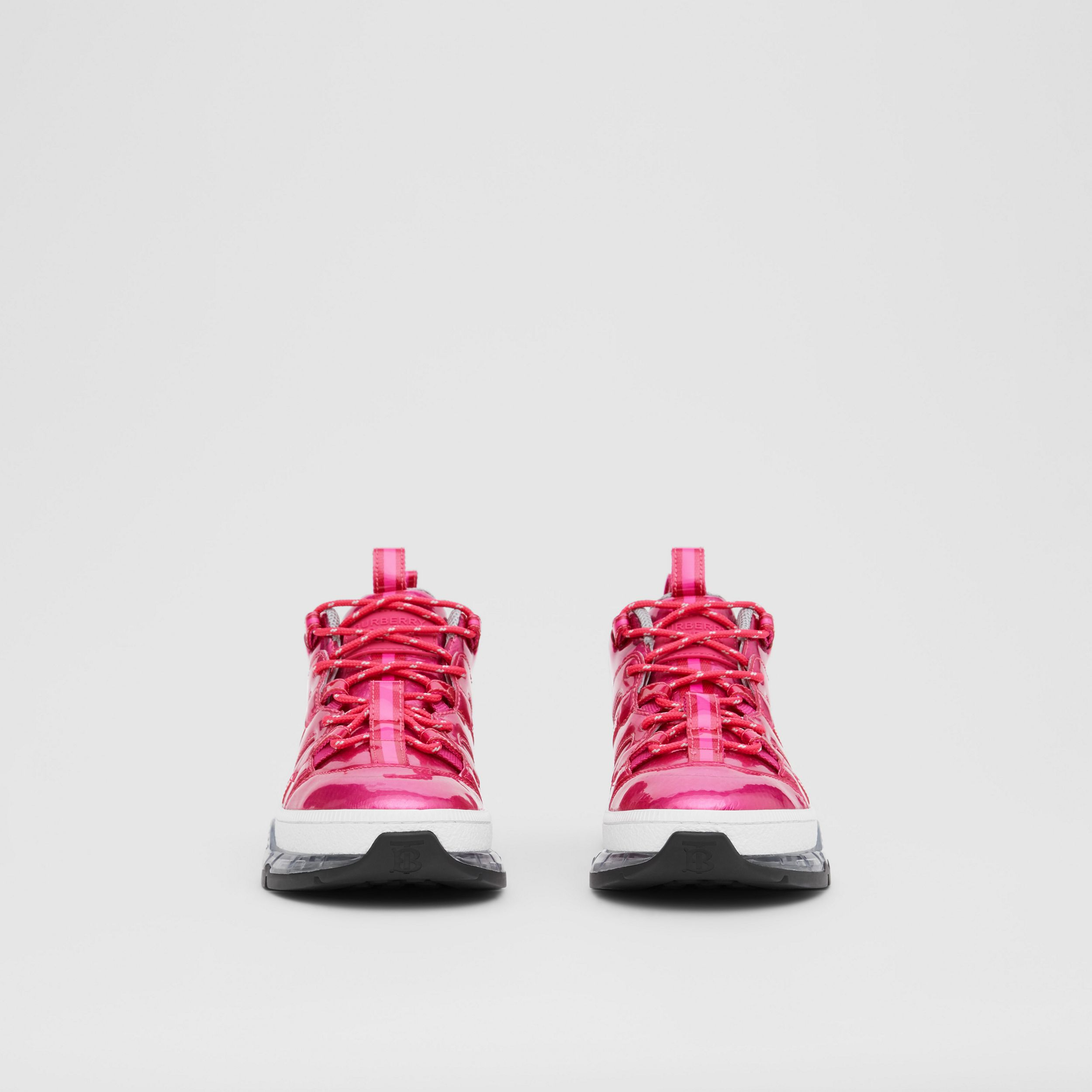 Vinyl and Nylon Union Sneakers in Fuchsia - Women | Burberry - 3