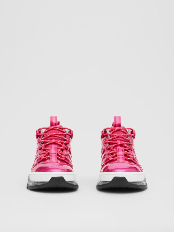 Vinyl and Nylon Union Sneakers in Fuchsia - Women | Burberry - cell image 2