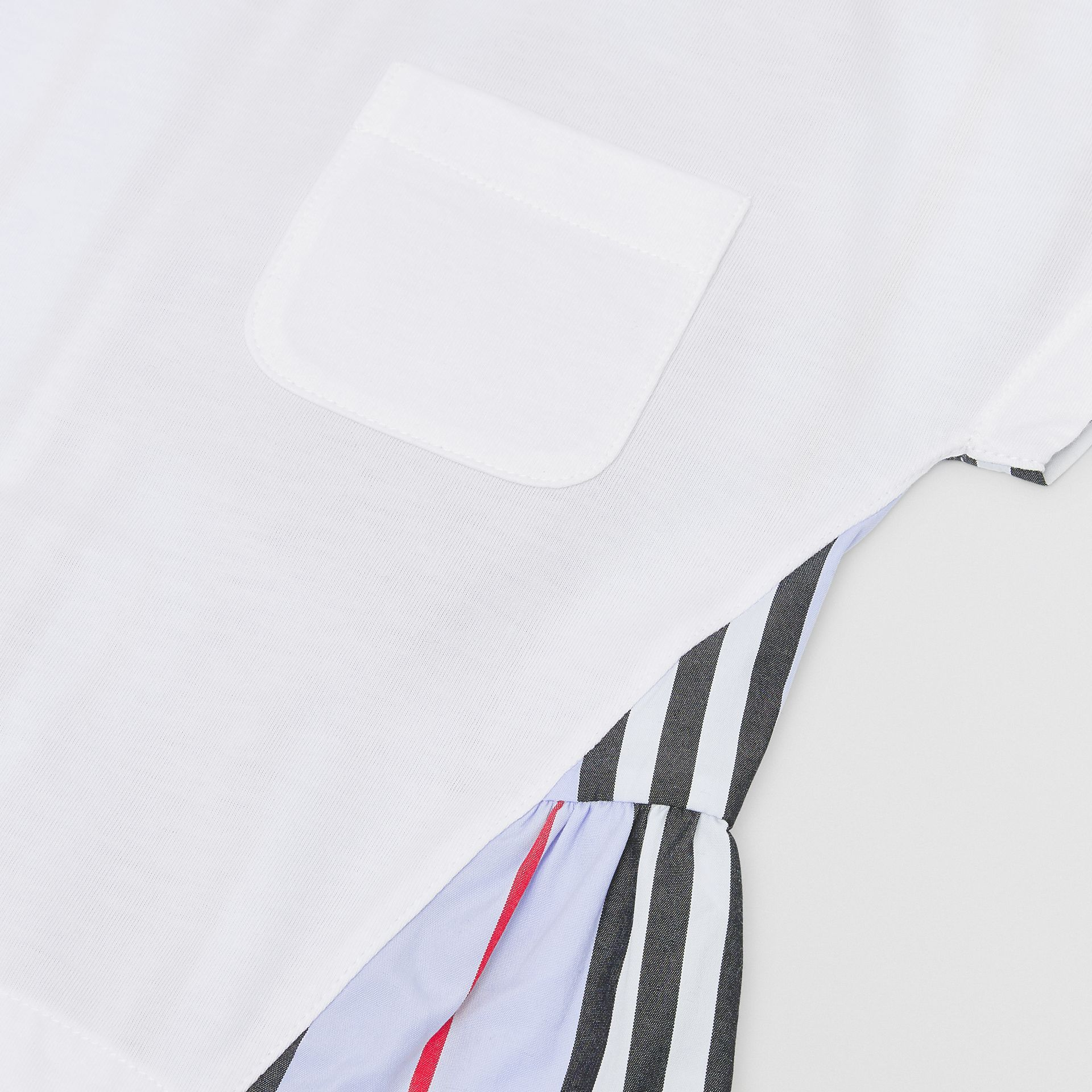 Icon Stripe Panel Cotton T-shirt in White/pale Blue - Children | Burberry - gallery image 1