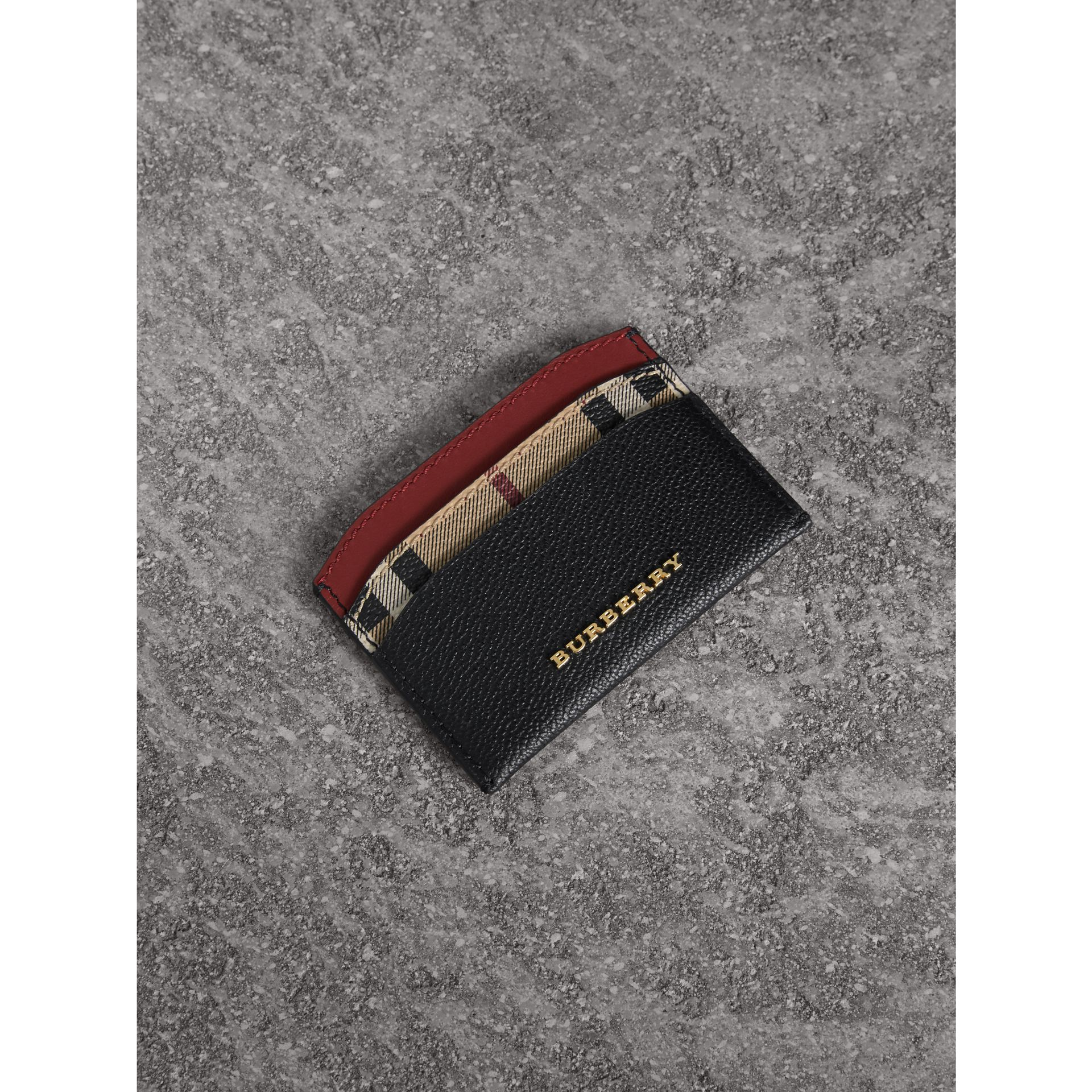 Colour Block Leather and Haymarket Check Card Case in Black/multicolour - Women | Burberry Hong Kong - gallery image 1