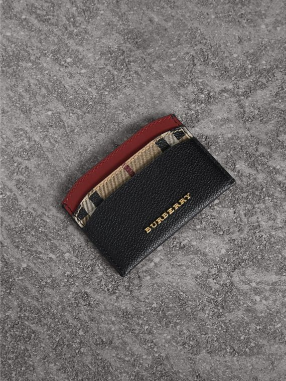 Colour Block Leather and Haymarket Check Card Case in Black/multicolour
