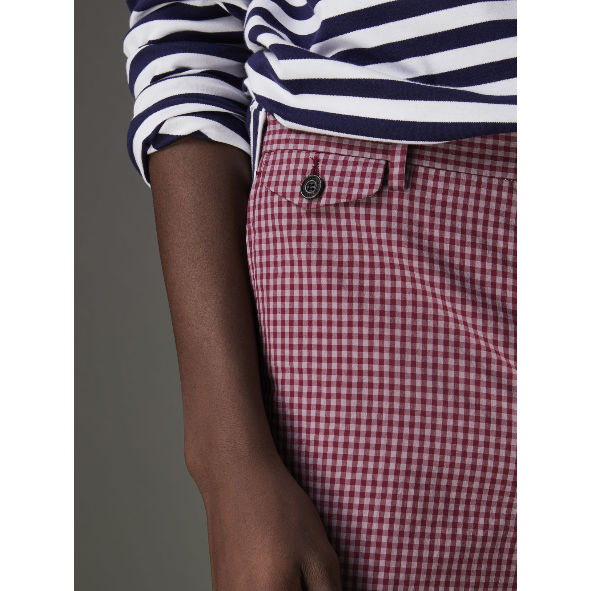 Gingham Cotton Tailored Shorts in Elderberry - Men | Burberry Australia - gallery image 1