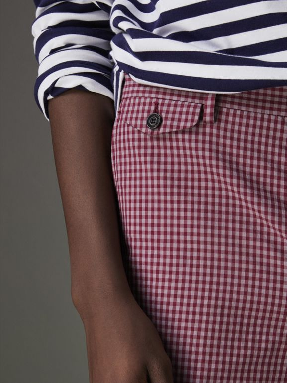 Gingham Cotton Tailored Shorts in Elderberry - Men | Burberry - cell image 1