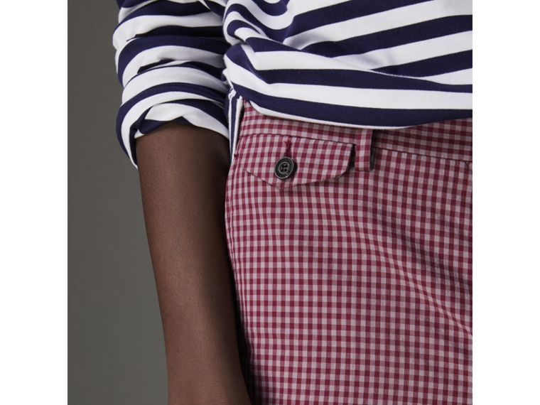Gingham Cotton Tailored Shorts in Elderberry - Men | Burberry Australia - cell image 1