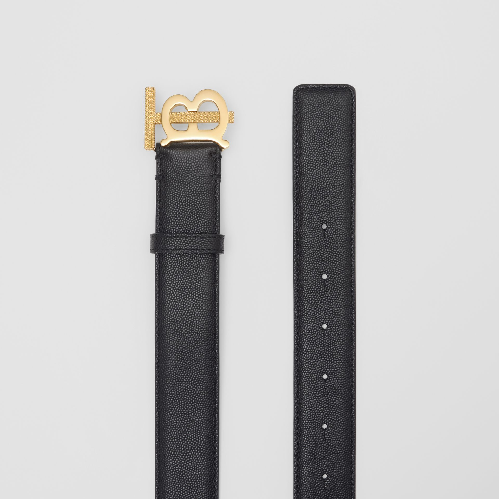 Monogram Motif Grainy Leather Belt in Black/light Gold - Women | Burberry - gallery image 4