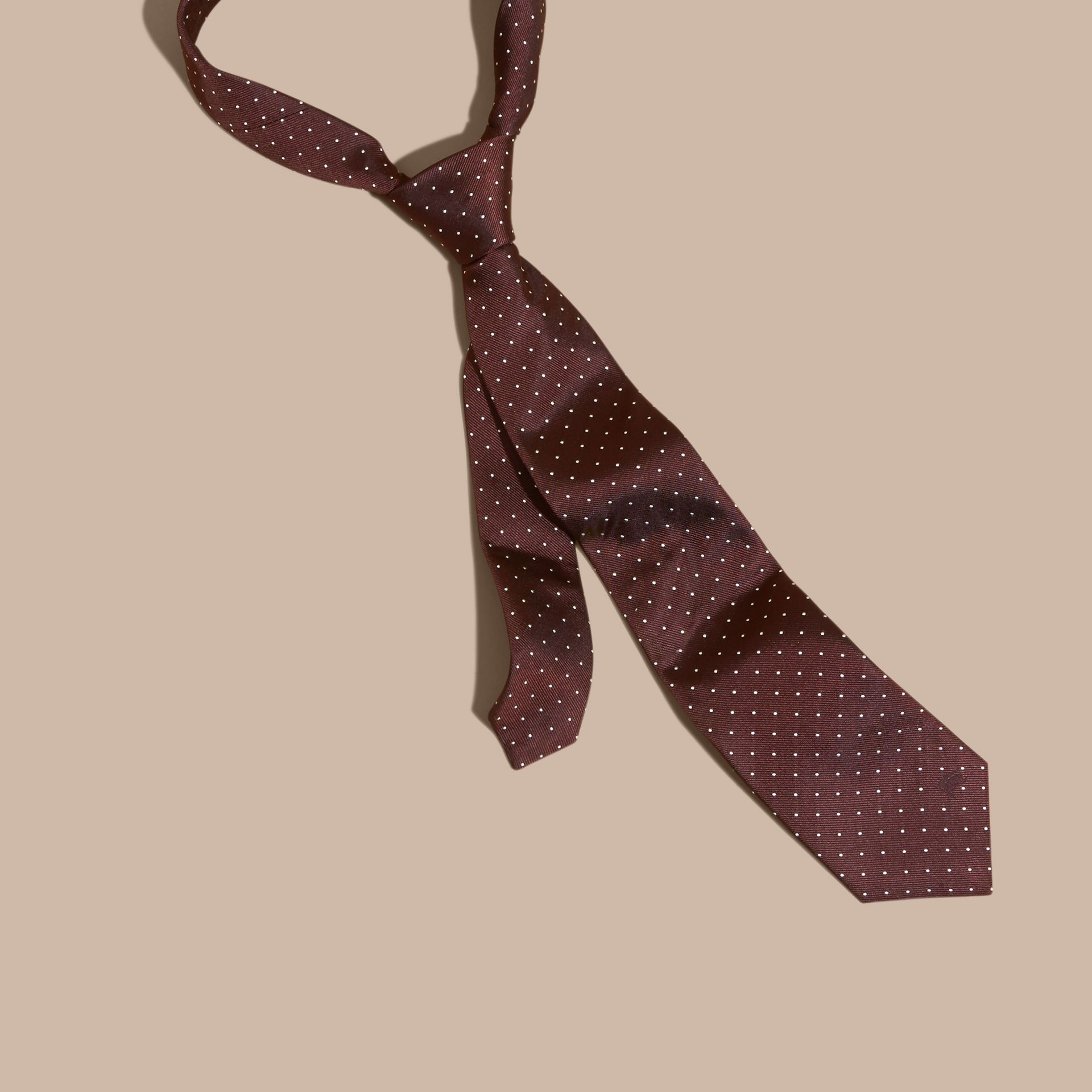 Classic Cut Polka Dot Silk Twill Tie in Deep Claret - Men | Burberry - gallery image 1