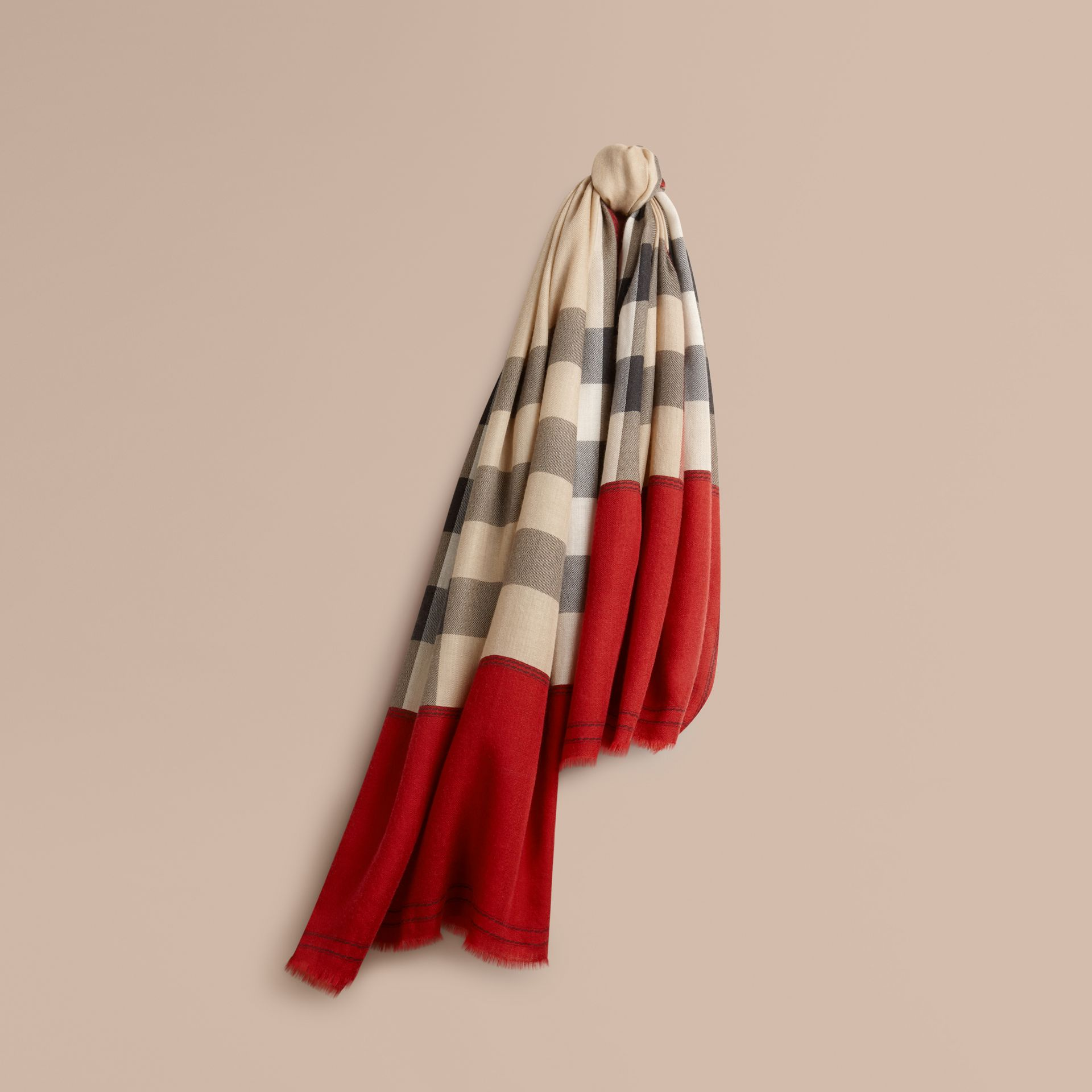 Contrast Border Horseferry Check Cashmere Scarf Parade Red - gallery image 1