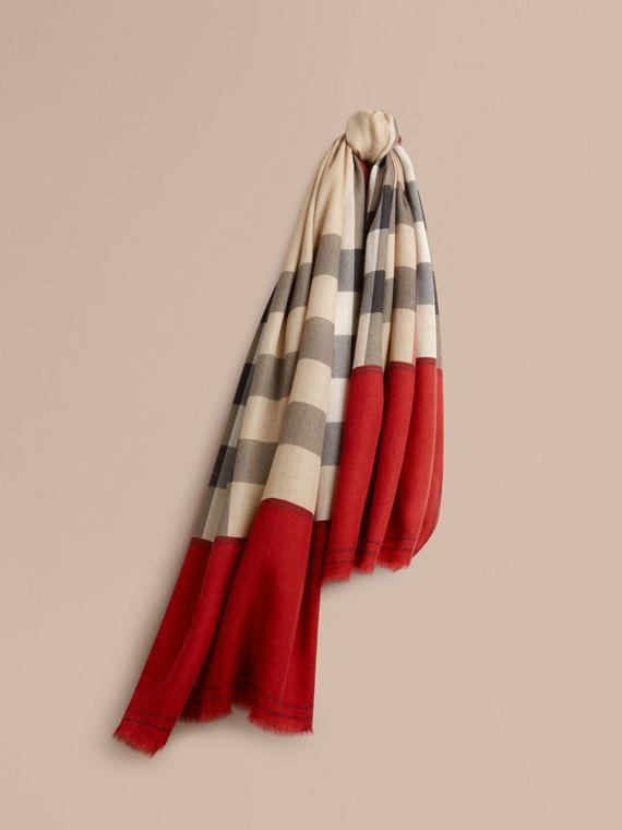 Contrast Border Horseferry Check Cashmere Scarf Parade Red