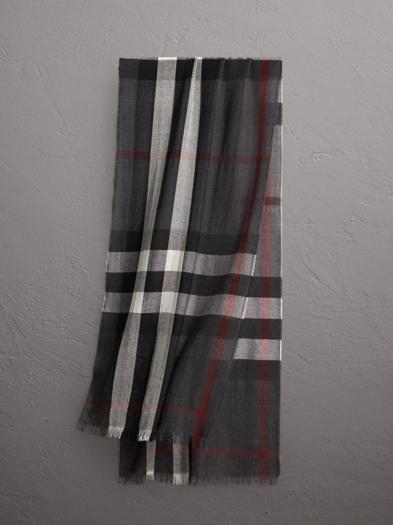 Lightweight Check Wool Cashmere Scarf in Charcoal