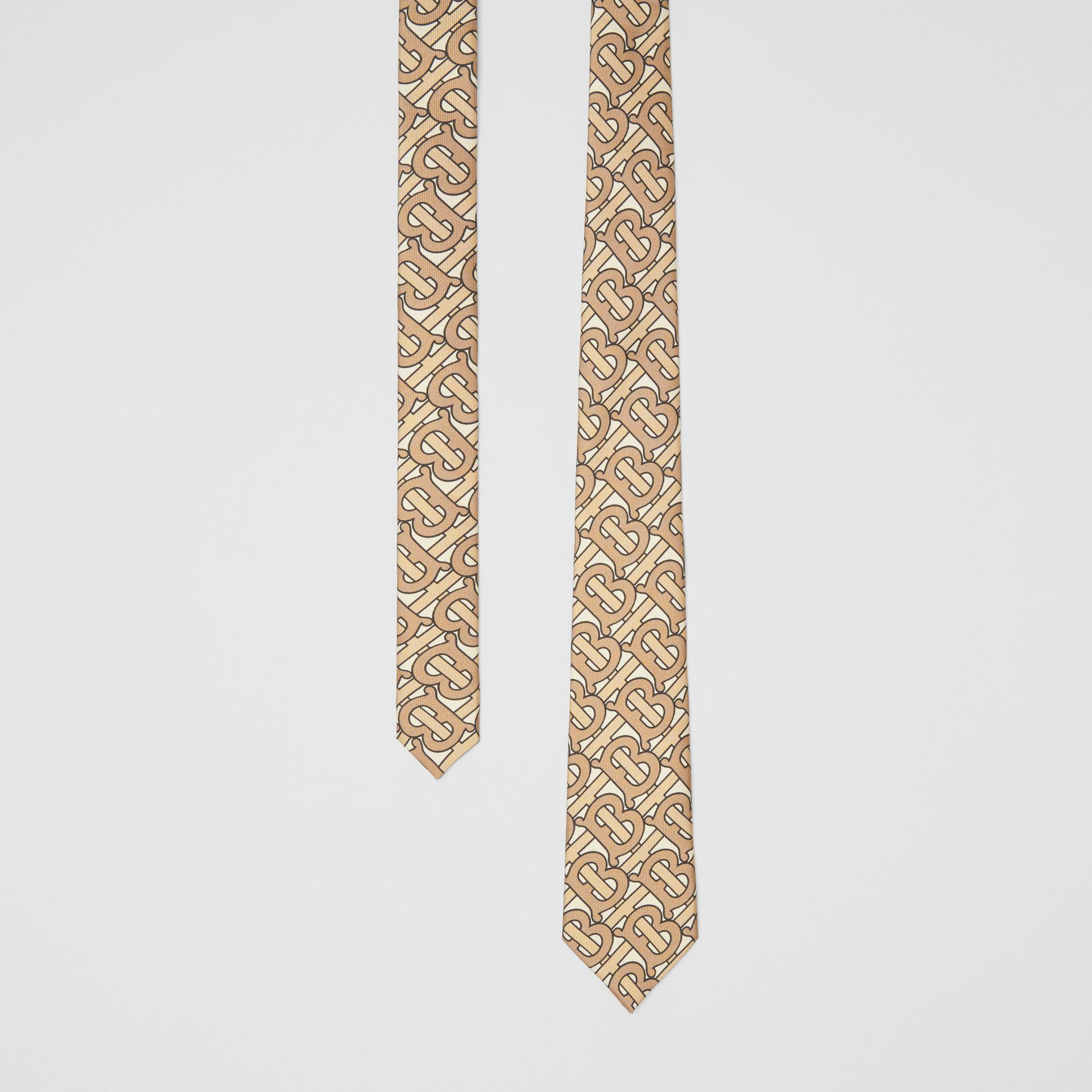 Classic Cut Monogram Print Silk Tie in Honey - Men | Burberry Australia - gallery image 0