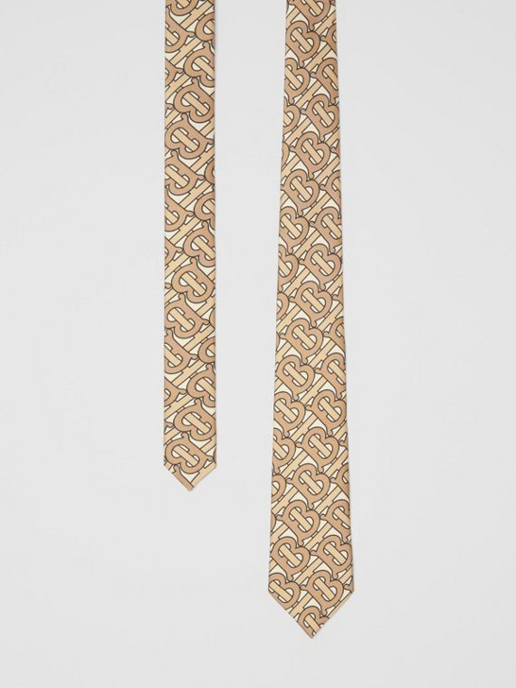 Classic Cut Monogram Print Silk Tie in Honey