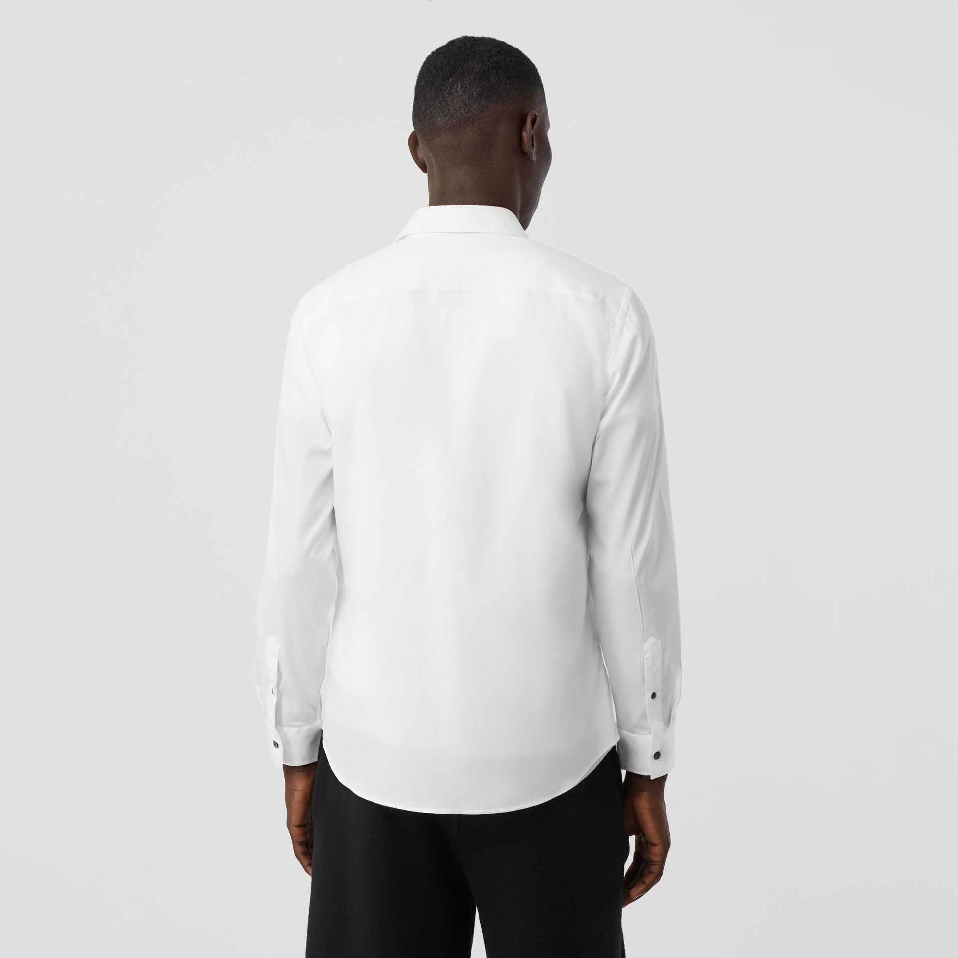 Monogram Motif Stretch Cotton Poplin Shirt in White - Men | Burberry United Kingdom - gallery image 2