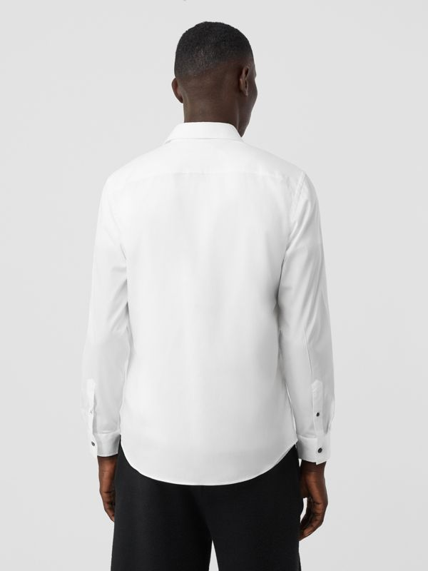 Monogram Motif Stretch Cotton Poplin Shirt in White - Men | Burberry United Kingdom - cell image 2