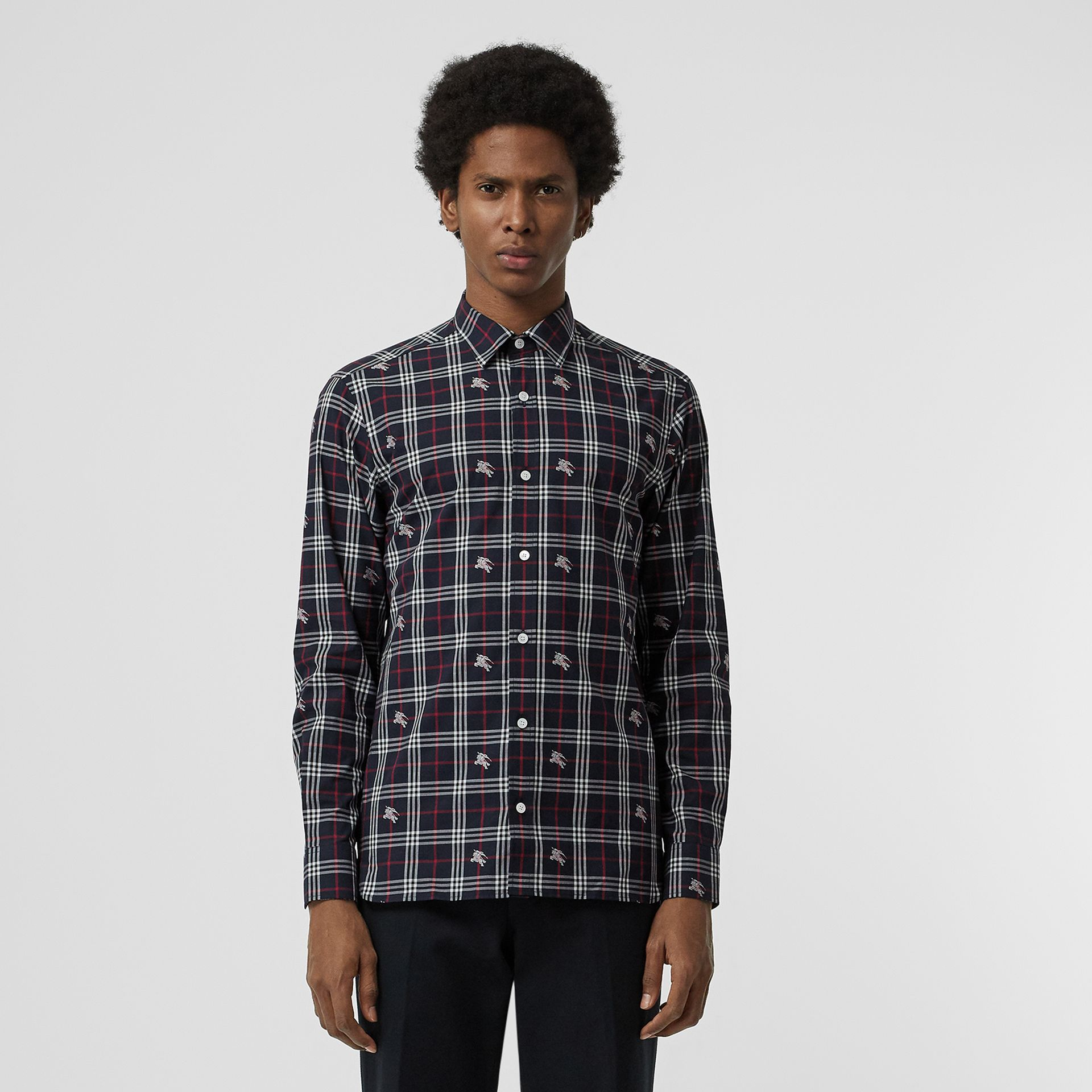 Equestrian Knight Check Cotton Shirt in Dark Navy - Men | Burberry Singapore - gallery image 0