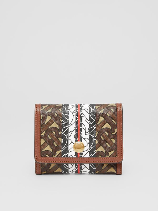 Small Monogram Stripe E-canvas Folding Wallet in Bridle Brown - Women | Burberry - cell image 2